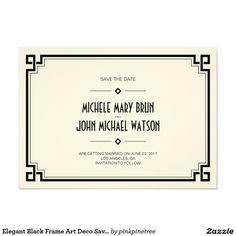 エレガントで黒いフレームのアールデコの保存日付カード 12.7 X 17.8 インビテーションカード