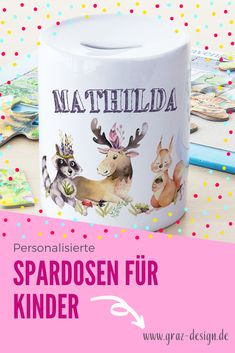 ❤ Spardose Kinder mit Name Mädchen, Geschenk personalisiert Taufe, Geburtstag Motiv Waldtiere Online Lessons, Money Box, Forest Animals, Girl Gifts, Christening, Personalized Gifts, Names, Education, Math
