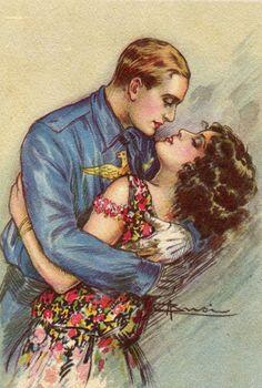 Love, Kisses, Couples, Romance postcard