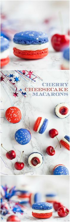 Red, White, and Blue Cherry Cheesecake Macarons - 18 All-American of July Fo. - Red, White, and Blue Cherry Cheesecake Macarons – 18 All-American of July Food List to Celebr - French Macaroon Recipes, French Macaroons, Cupcakes, Cupcake Cakes, Macaron Bleu, Just Desserts, Dessert Recipes, Healthy Desserts, Dessert Food