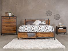 Insigna Collection from Dania furniture. Industrial cabin look. $799 bed, $849 high chest, $289 night stand.