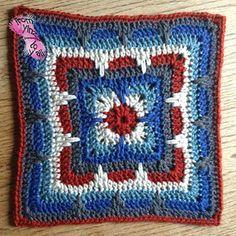 Ravelry: Larksfoot Inspired Granny Square pattern by From Home Crochet Eyes, Crochet Art, Crochet Motif, Crochet Squares Afghan, Afghan Crochet Patterns, Crochet Blocks, Granny Squares, Crochet Dishcloths, Granny Square Crochet Pattern