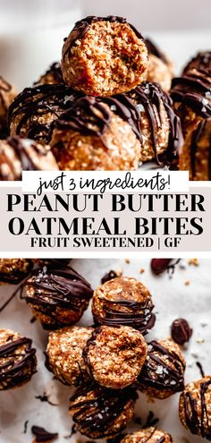 Super quick and easy healthy peanut butter oatmeal bites made with just 3 ingredients! The perfect healthy snack or treat, and just sweetened with fruit! #easy #healthy #snack #vegan #glutenfree #easyrecipe Oatmeal Energy Bites, Peanut Butter Energy Bites, Peanut Butter Roll, Peanut Butter Oatmeal, Peanut Butter Protein, Free Recipes, Whole Food Recipes, Healthy Chocolate Desserts, Protein Bites