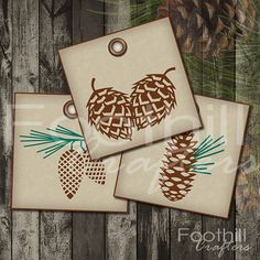 INSTANT DOWNLOAD -  9 Christmas Pinecone Gift Tags - 2.5 x 2.5 - Printable Digital Collage Sheet -  DIY Xmas Hang Tags -  Holiday - Outdoors... #pinecones #outdoors #pine_needles #gift_tags #christmastags #holidaytags #gifts #foothillcrafters #etsy #pine_cone