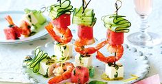 Watermelon cubes add a burst of summer freshness to these prawn, fetta and cucumber skewers.