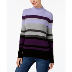 Karen Scott Cotton Striped Mock-Turtleneck Sweater, Created for Macy's ($16) ❤ liked on Polyvore featuring tops, sweaters, purple dynasty combo, turtle neck sweater, mock turtleneck, striped turtleneck, cotton turtleneck sweaters and striped turtleneck sweaters