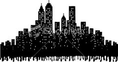 Grunge City Skyline silhouette illustration Royalty Free Stock Vector Art Illustration