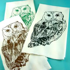 Kitchen Towels Owls  Printed Tea Towels  CUTE by MoxieMadness, $10.00