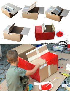 For kids cardboard box car cardboard box crafts for toddlers home improve. Cardboard Car, Cardboard Box Crafts, Cardboard Box Ideas For Kids, Diy Décoration, Diy Crafts, Easy Diy, Diy Karton, Carton Diy