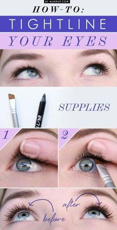 to Tightline Your Waterline With Eyeliner How to Tightline Your Eyes // love this makeup trick!How to Tightline Your Eyes // love this makeup trick! Beauty Make-up, Beauty Secrets, Beauty Hacks, Hair Beauty, Beauty Tutorials, Makeup Tutorials, Beauty Products, Makeup Products, Eye Makeup
