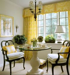 Yellow curtains for dining Dining Room Design, Dining Area, Dining Rooms, Kitchen Dinning, Small Dining, Dining Table, Yellow Dining Room, Yellow Rooms, Yellow Curtains