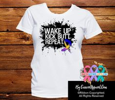 Bladder Cancer Shirts Wake Up Kick Butt and Repeat