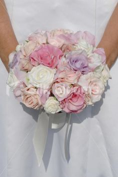 These are the exact colours I want! Pink Lilac & Ivory Bridal Bouquet w/ Mixed Roses and Hydrangea