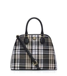 Tory Burch Robinson Plaid Open Dome Satchel