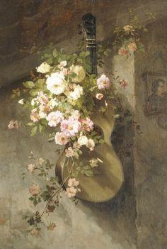 Cornelia Johanna Wilhelmina Henriëtta Roosenboom - Roses on a spanish guitar