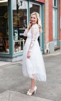 Rehearsal Dinner Dress... - Bloom Girl Blog. Chic Wish. White Dress. Tulle Bridal Spring