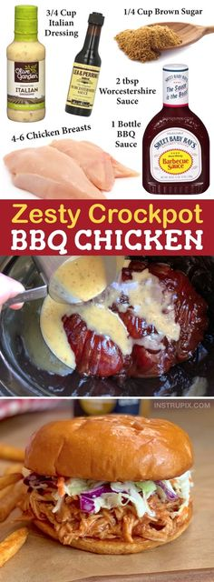Easy Crockpot Recipe: The BEST Pulled BBQ Chicken Sandwiches Just 5 ingredients! This slow cooker bbq chicken recipe is made with just bbq sauce, Italian dressi Slow Cooker Huhn, Slow Cooker Bbq, Slow Cooker Recipes, Crockpot Recipes, Cooking Recipes, Crockpot Dishes, Crock Pot Cooking, Pulled Chicken Recipes, Recipes With Bbq Sauce