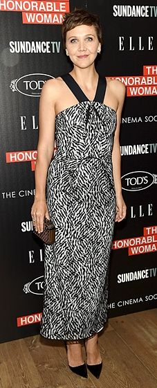 """Maggie Gyllenhaal looked sleek in a printed Roland Mouret dress with a halter neckline at """"The Honourable Woman"""" NYC Premiere."""