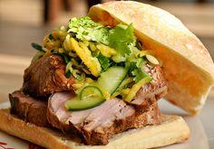 Pork Sandwich w/Spicy Mango Cucumber Slaw by bitchincamero, via Flickr