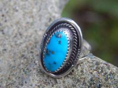 Native Southwestern Turquoise Ring by SoSwankVintage on Etsy, $55.00