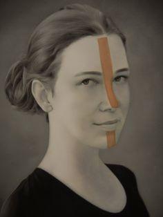 Intervenção sobre tela com motivos geométricos indígenas seguindo a paleta de cores Polvo.