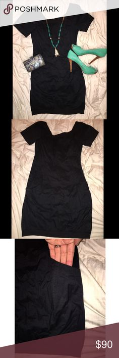 French Connection Black Short Sleeve Dress This is a great little black dress!! Has side pockets and a front pocket as shown. The end of the sleeves, collar line and bottom of dress have a stretchy, tee shirt material for great fit and a bit of fun detail. Zips up back. French Connection Dresses Mini