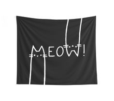 Black and white, meow! Cat wall tapestry by cool-shirts Also Available as T-Shirts & Hoodies, Men's Apparels, Women's Apparels, Stickers, iPhone Cases, Samsung Galaxy Cases, Posters, Home Decors, Tote Bags, Pouches, Prints, Cards, Mini Skirts, Scarves, iPad Cases, Laptop Skins, Drawstring Bags, Laptop Sleeves, and Stationeries #style #design #home #decor #tapestries #cats #gato #kittens