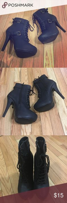 Booties Black lace up booties. Worn once very clean in excellent condition. De Blossom Collection  Shoes Ankle Boots & Booties