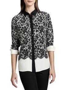 Go Silk Lace-Print Silk Blouse, Women's