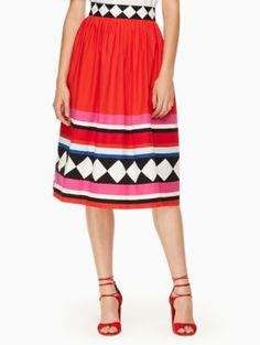 e8a0a996 geo border poplin skirt | Kate Spade New York Sexy Skirt, Geometric  Designs, Summer