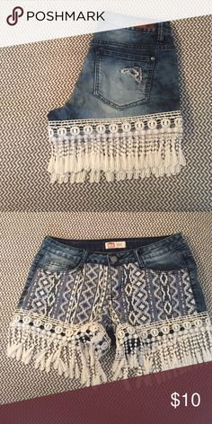 Shorts Aztec pocket designs with lace edges very cute never worn l.e.i Shorts Jean Shorts
