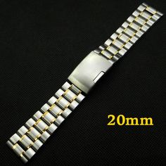 >> Click to Buy << 20mm Multicolor Band Width Stainless Steel Wrist Watch Band Fold over clasp with one push button 2 Spring Bars GD011420 #Affiliate