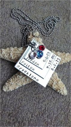 ae8ea26bf574 Stainless Steel Hand Stamped Mother s Necklace 3 Layer Square With Names  and Birthdates