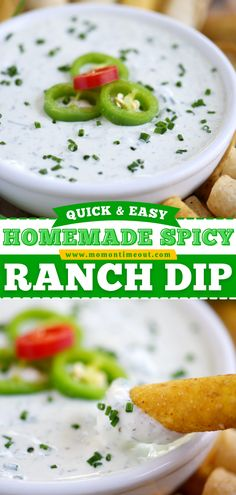 Learn how to make Spicy Ranch Dip! With Greek yogurt and fresh ingredients, this dip recipe is light, packed with protein, and bursting with flavor. The perfect 4th of July appetizer! Save this pin! Party Dip Recipes, Easy Appetizer Recipes, Best Dinner Recipes, Yummy Recipes, Breakfast Recipes, Appetizers, Yummy Food, Pickels, Party Sandwiches