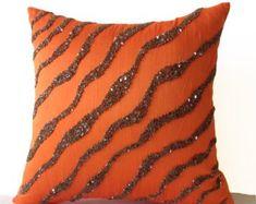 Decorative Throw Pillows -Orange Brown Sea waves in silk sequin bead Orange pillow -Bedding -Pillow cover -gift pillow -Autumn Orange Throw Pillows, Brown Pillows, Blue Pillows, Accent Pillows, Rustic Decorative Pillows, Living Room Decor Pillows, Ottoman, Throw Pillow Covers, Decoration