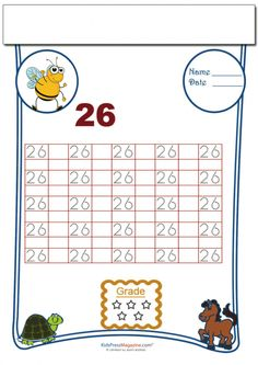 Practice makes perfect, and numbers are no exception! Your little one will master writing the number 26 with this free, traceable worksheet. Once they've finished tracing, see if they can do the number 26 on their own.   Read more at http://kidspressmagazine.com/cool-math/worksheets/numbers/tracing-numbers-26.html#x22gtV5jm582Gik7.99 #numbers #math #tracing #printable