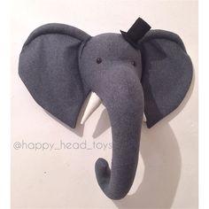 Mr Elephant grey color. Faux taxidermy wall mount от HappyHeadToys