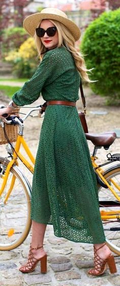 #bestof #instagram #turninghead #spring #outfitideas  Romantic Green Eyelet Maxi Dress   Atlantic Pacific