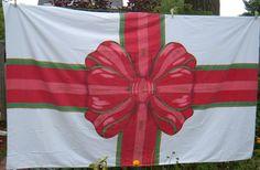 Vintage Christmas tablecloth - vintage Christmas linens - Christmas linens - linen tablecloth - vintage linens - retro linens -