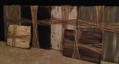 DIY cross on canvas: Paint background any color and use jute to make cross