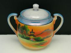 SOLD - Vintage Lusterware Chikaramachi Noritake Japan Pagoda Covered Sugar Bowl Dish