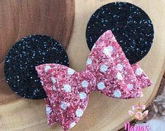 Your place to buy and sell all things handmade Ribbon Hair Bows, Girl Hair Bows, Girls Bows, Pink Hair, Ribbon Flower, Fabric Flowers, Diy Leather Bows, Disney Hair Bows, Fabric Flower Tutorial