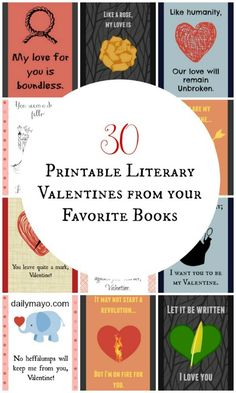 Printable valentines based on 10 popular books! Suitable for kids or adults! -Daily Mayo