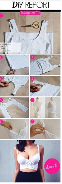 How to make this Balenciaga inspired crop top. 15 great ideas on how to refashion & restyle old T shirts into fun crafts and accessories. You'll never have to wonder what to do with old T shirts. Diy Crop Top, Crop Tops, Tank Tops, Diy Halter Top, Diy Camisa, Fashion Bubbles, Diy Kleidung, Diy Vetement, Do It Yourself Fashion