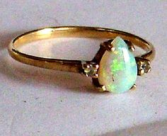 SOLD : Elegant 14k Gold Opal Ring - Pear Shaped White Opal and Diamond set into a 14 Karat Yellow Gold Ring - Opal Engagement Ring Size 6 1/2