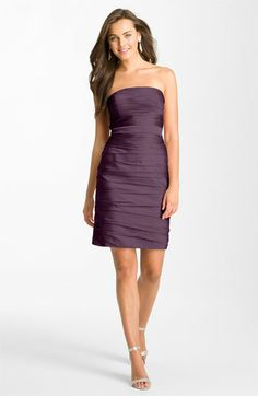 ML Monique Lhuillier Bridesmaids Ruched Strapless Cationic Chiffon Dress (Nordstrom Exclusive) available at #Nordstrom