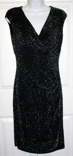 Lauren Ralph Lauren size 4 NWT black sparkle dress fitted $160 #LaurenRalphLauren #Stretch #LittleBlackDress