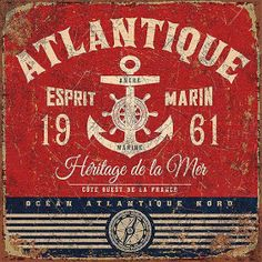 Vintage Labels Art Print: Esprit marin by Bruno Pozzo : - Vintage Tin Signs, Vintage Type, Vintage Labels, Vintage Ads, Vintage Prints, Vintage Packaging, Decoupage Vintage, Decoupage Paper, Vintage Pictures