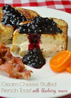 An indulgent weekend brunch idea; stuffed French toast with Honey Cream cheese & served with blueberry sauce. You'll want to invite folks over for this one!