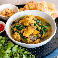 This flavoursome chicken curry is fast to put together with very little effort and is delicious with some roti to mop up the sauce. If you get the chanc Ground Coriander, Curry Leaves, Chicken Spices, Chicken Curry, Black Mustard Seeds, Spinach Curry, Roasted Cashews